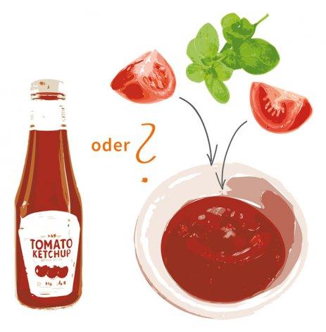 Mittagspause mit frischem Tomatenketschup